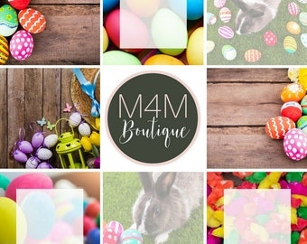 INSTANT DOWNLOAD | Dyed Eggs-Easter Social Media Images - Set of 8 | Twitter, Facebook, Instagram | graphics, marketing, invites