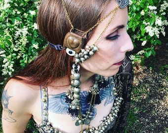 Tribal fusion bellydance headdress Tassels with tiny Mauritanian shells on SALE