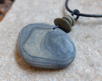 Gray grey blue River stone pendant & beach pebble necklace - handmade in Australia by NaturesArtMelbourne - large natural stone jewellery