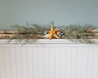 """Beach Nautical Christmas Decoration, Christmas Decor, Seashell Christmas Decor, Coastal Christmas, Birch Log Bundle w Shells, Starfish, 27"""""""