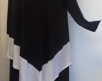 Coco and Juan, Plus Size Tunic, Lagenlook Black and White Angel Tunic Top, Size 2  (fits 3X,4X)   Bust 60 inches