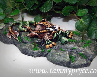 Ooak Polymer Clay Green & Brown Sad Little Dragon Sculpture on Gray Rock #08 Home Decor and collectibles