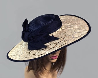 Maria, Kentucky Derby hat,  beautiful boater style straw hat with novelty straw brim and navy crown millinery hat