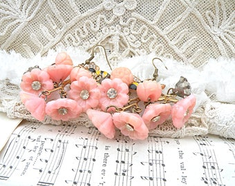 earrings celluloid rose assemblage pink spring flowers romantic cottage chic bee buttons