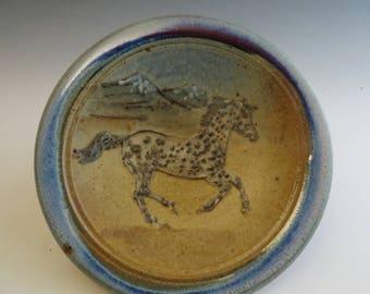 Side Plate Black Leopard Appaloosa Horse & Mountains