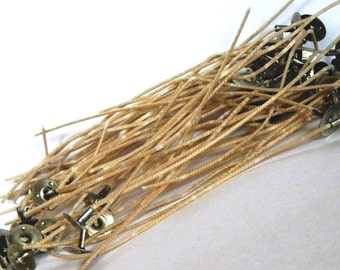 Candle Wicks 50 Qty - Candle Supplies - Pre Tabbed Wicks - Heinz Natural Coreless CD 5-12 - Small Wicks, Large Wicks, Cotton Wicks