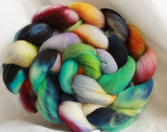 Hand dyed Organic Polworth spinning wool/fiber/roving 4 oz/114 grams  #42