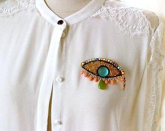 jade coral brooch   the third eye   bead embroidered rhinestone brooch   colorful gemstones brooch   large statement handmade brooch