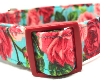 Red Aqua Roses Dog Collar Fabric Girl Pink Blue Flowers