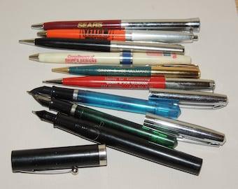 Vintage Fountain and Ink Pen Assortment plus pencils