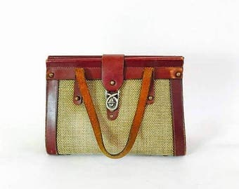 Spring SALE 25% Vintage 60s Tweed & Leather Bag Oxblood Brown Leather Handbag Brass Buckle Studs Boxy Frame 1960s Woven Jute Purse Preppy Cl
