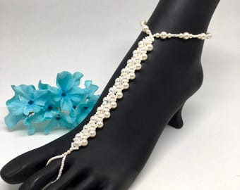 Bridal Barefoot Sandals Ivory Pearl Barefoot Sandals Swarovski Pearl Crystal Accents