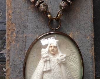 Antique  French Religious  Carved Meerschaum Pendant Necklace,  Reliquary  Assemblage Necklace