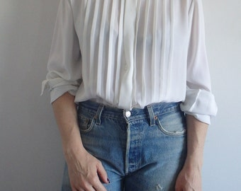 Womens Blouse Vintage Pleated