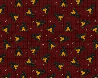 NEW Bear Paws Quilt Craft Fabric One Yard Cut of Bears with Bee Skeps on Red