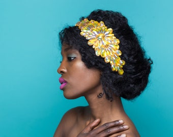 Sparkling Jewel Headband, Orange Rhinestone Headband, Orange Green Headband, Summertime Hair Accessories, Natural Hair Accessories