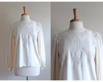 Vintage Edwardian Style Ivory Embroidered Silk Top