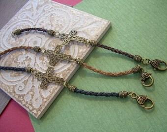 Cross Bracelet, Leather Cross Leather Bracelet, Womens Bracelet, Womens Jewelry, Religious Gift, Leather, Jewelry, Bracelet, For Her, Gift