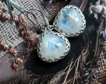 Moonstone Teardrop Earrings | Rainbow Moonstone Heart | Floral Bezel | Sterling Silver Filigree Dangles | Everyday Dangles | Ready to Ship