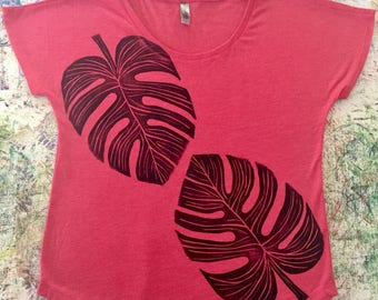 Womenʻs Blouse, Red, with Two (2) Block Printed Black Monstera Leaves