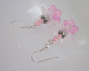 Pink Lucite Flower Earrings, Antiqued Silver, Pink and White Flower, Pastel Dangle