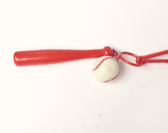 1980's Plastic Charm Baseball and Bat Sports
