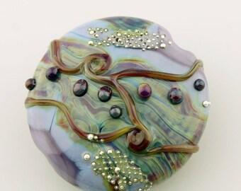 Reserved, Lampwork Bead, Glass Lentil Focal, SRA Purple, Blue, Silver