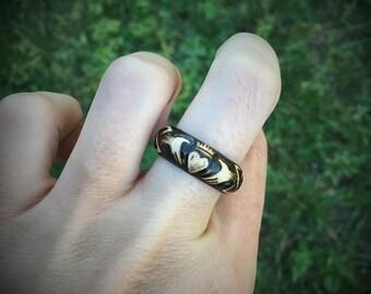 Claddagh Band Ring 8.5US Hand-Burned