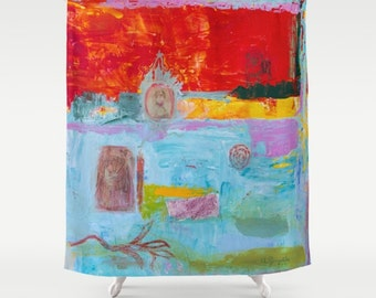 Shower Curtain Art, home decor, from painting el perro de Goya, bathroom decor, polyester curtain, colourful, blue summer, spanish art