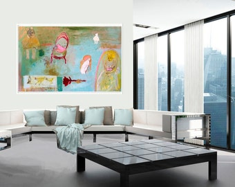Fine Art Print, Print Giclee Art, abstract interior, cat girls modern decor, wall art, turquoise yellow red people by Ana Gonzalez