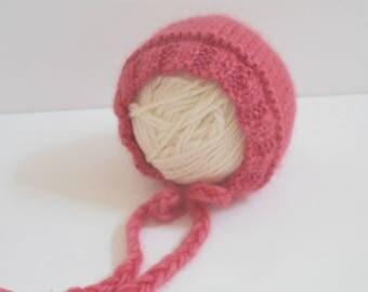 Newborn Baby Bonnet/Newborn Hat/Baby Shower Gift/Baby Bonnet/Knit Bonnet/Hand Knit Newborn Bonnet/Newborn Photo Prop