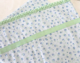 Standard Pillow Case Soft Cotton Floral with Crocheted Edge Blue Pale Green