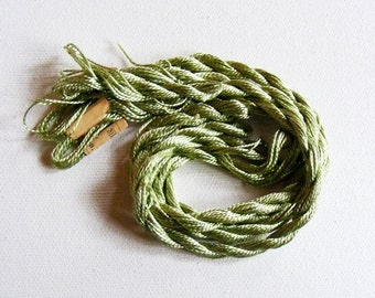 Antique 1920's CORTICELLI Silk Twist Embroidery Floss Gorgeous Celery Green