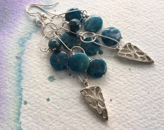 FREE SHIPPING Very Long Sterling Silver Clustered Teal Stone Statement Earrings