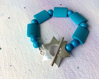 FREE SHIPPING Sterling Silver Star Clasp Turquoise Stone Bracelet