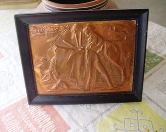 Vintage Small Framed Copper Bull Fighter Picture