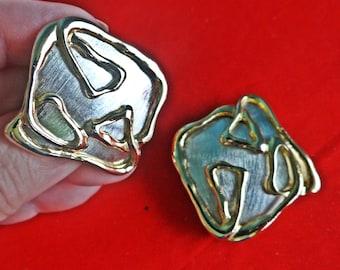 "Vintage Park Lane signed silver & gold tone 1.5"" modernist clip earrings in unworn condition on Park Lane card"