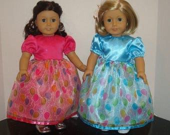 """18 inch Doll Clothes,Party Balloon Sparkle,Birthday Dress, Fancy Dress,Birthday,Made to fit 18"""" Girl Dolls like American Girl,READY TO SHIP"""