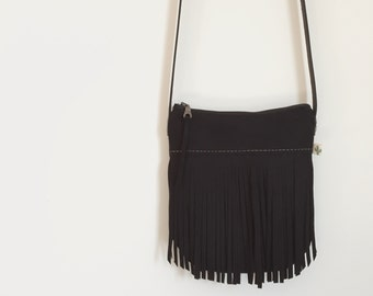 Black Crossbody, Fringe Crossbody Bag, Bohemian Crossbody Purse