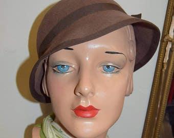 1930's Soft Brown Felt Brimmed  Hat