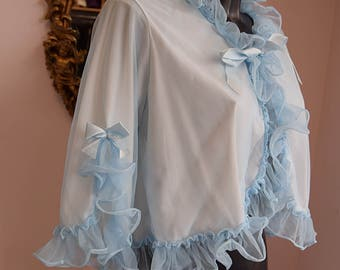 1950's Ice Blue Frilled Bed jacket