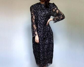 Black Gold Dress Vintage Clothing Lace Dress Metallic Dress 80s Party Dress Long Sleeve Dress Plus Size Dress - Extra Large XL XXL 2XL