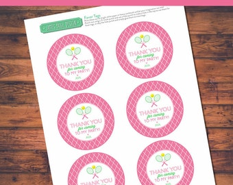 "Preppy Tennis Themed Birthday 3"" Favor Tags Labels - ""Thanks for coming to my party"""