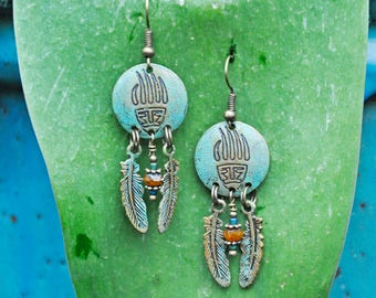Spirit Moon Feather Earrings!!