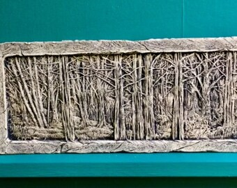 Woods ceramic porcelain relief forest tree tile