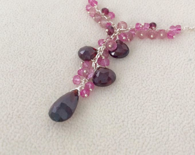 Semiprecious Gemstone Pendant Necklace in Sterling Silver with Garnet, Mystic Pink Topaz, Mystic Pink Quartz