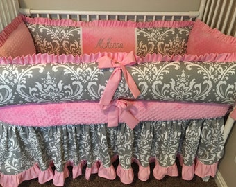 Hot Pink and GRay damask Baby bedding Crib set DEPOSIT PAYMENT ONLY