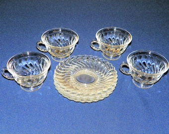 Fostoria Colony Cup and Saucer, Four Sets (8 Pieces), Elegant Swirled Glass (12 Sets Available)