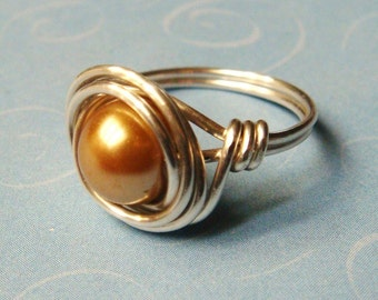 Gold Pearl Ring   Gold Glass Pearl   Sterling Silver Wire Wrapped Ring