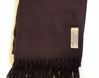 Chocolate Brown Pashmina (personalise with Initials or message)